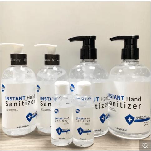 10ml, 50ml, 100ml, 200ml, 500ml, 5L hand sanitizers