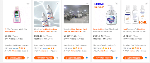alibaba hand sanitizer available online