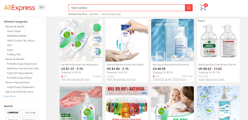 aliexpress hand sanitizer products available online