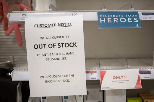 hand sanitizer shortage emptied shelves