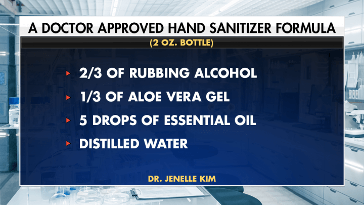visual ingredients of doctor approved hand sanitizer