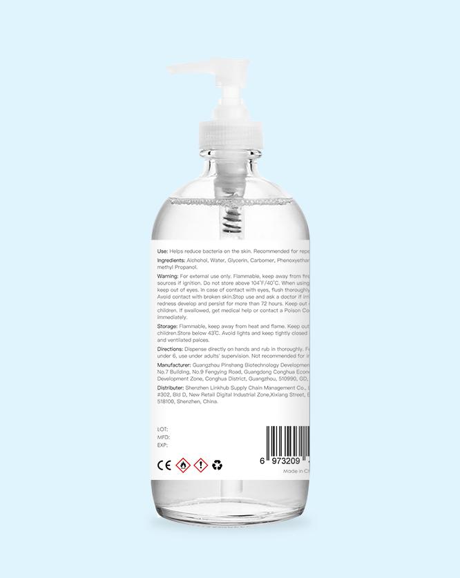 1000ml 33oz hand sanitizer label