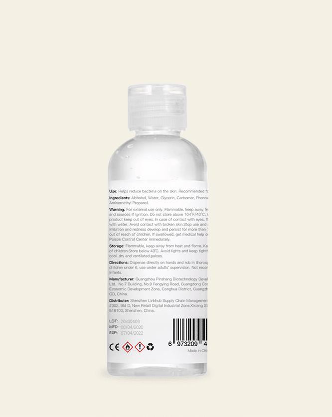 100ml 3oz hand sanitizer label