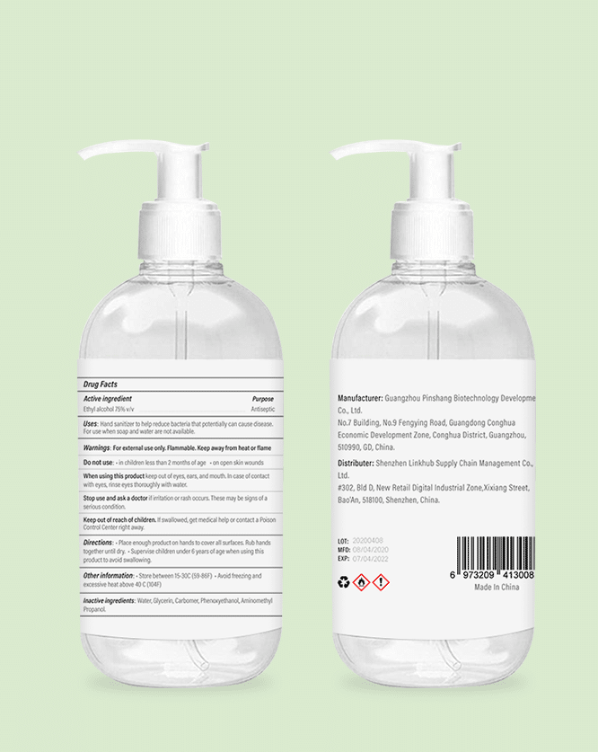 300ml 10oz oz hand sanitizer label