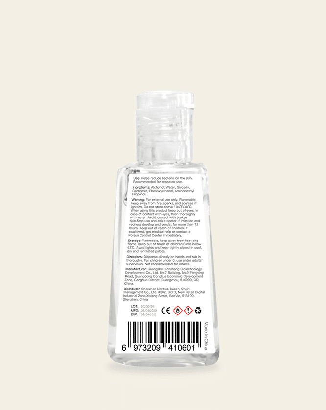30ml 1oz hand sanitizer label