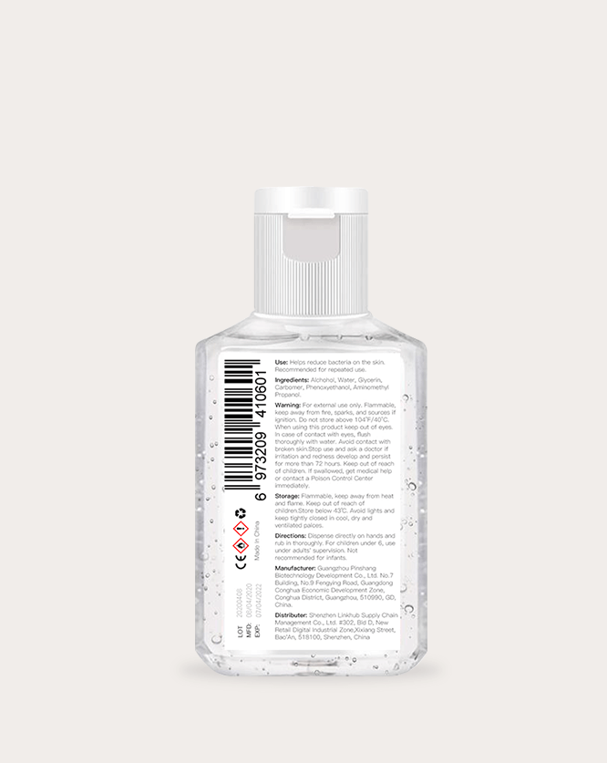 60ml 2oz hand sanitizer label