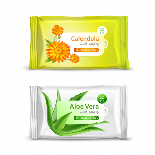 scented aloe vera wipes and calendula wipes packaging in white background